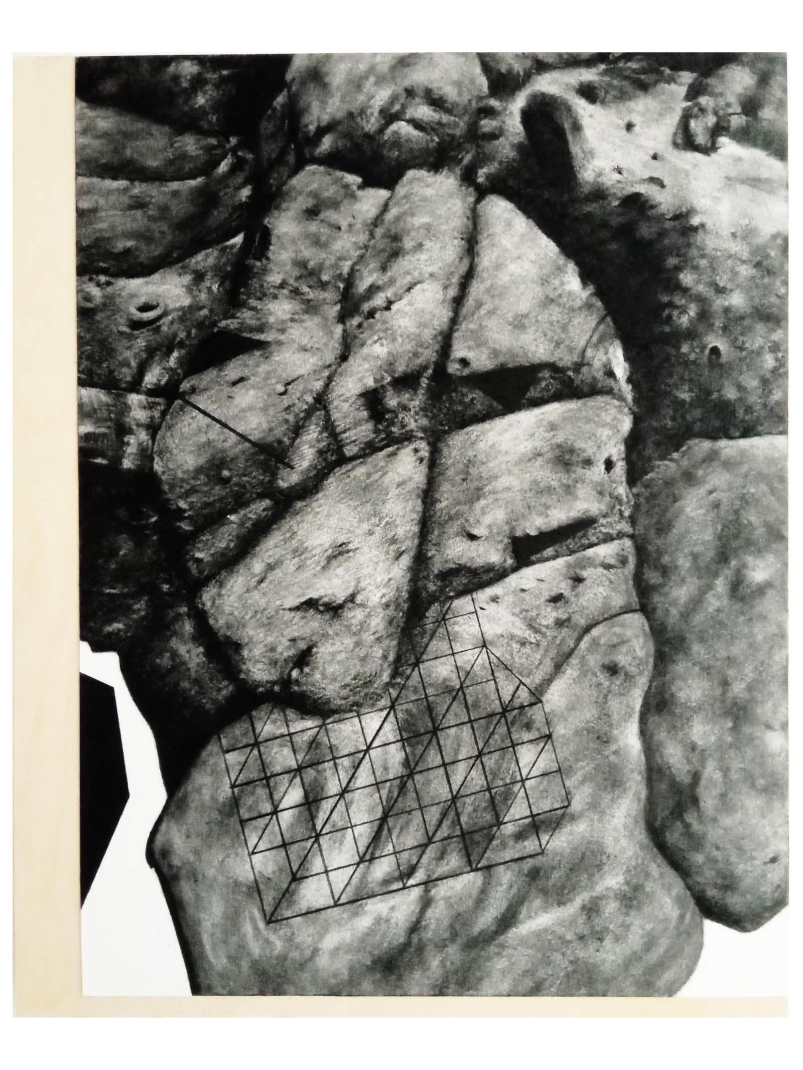 Le Rocher dessin de Fabien Granet sur papier marouflé sur bois